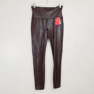 SPANX Ready To Wow Faux Leather Wine XL Leggings